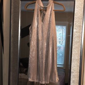 NYE NEW YEARS ROSE GOLD METALLIC NECK TIED DRESS